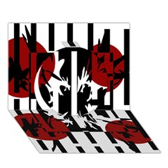 Red, Black And White Elegant Design Circle 3d Greeting Card (7x5)