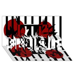 Red, black and white elegant design BELIEVE 3D Greeting Card (8x4)