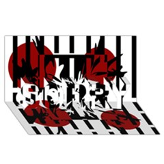 Red, Black And White Elegant Design Sorry 3d Greeting Card (8x4)