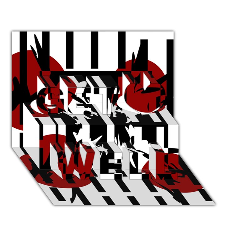 Red, black and white elegant design Get Well 3D Greeting Card (7x5)