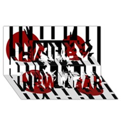 Red, black and white elegant design Happy New Year 3D Greeting Card (8x4)