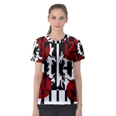 Red, black and white elegant design Women s Sport Mesh Tee