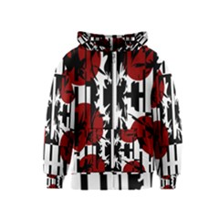 Red, black and white elegant design Kids  Zipper Hoodie