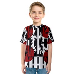 Red, black and white elegant design Kid s Sport Mesh Tee