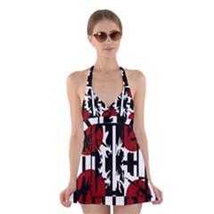 Red, Black And White Elegant Design Halter Swimsuit Dress
