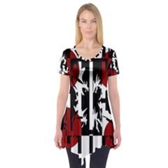 Red, black and white elegant design Short Sleeve Tunic