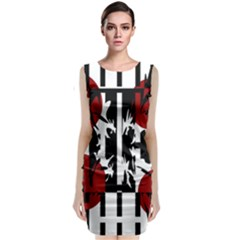 Red, black and white elegant design Classic Sleeveless Midi Dress