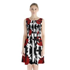 Red, black and white elegant design Sleeveless Waist Tie Dress