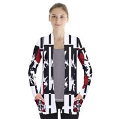 Red, Black And White Elegant Design Women s Open Front Pockets Cardigan(p194)