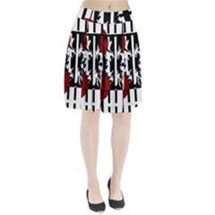 Red, Black And White Elegant Design Pleated Skirt