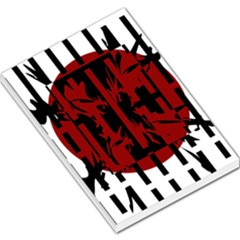 Red, black and white decorative design Large Memo Pads