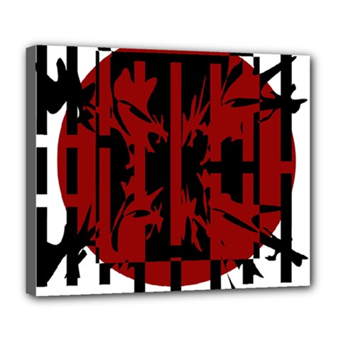 Red, black and white decorative design Deluxe Canvas 24  x 20