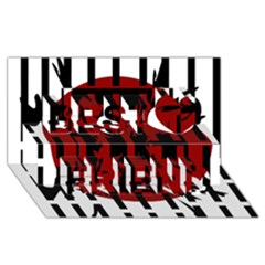 Red, black and white decorative design Best Friends 3D Greeting Card (8x4)