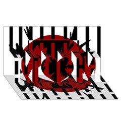 Red, black and white decorative design MOM 3D Greeting Card (8x4)