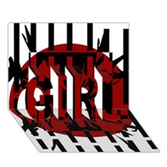 Red, black and white decorative design GIRL 3D Greeting Card (7x5)