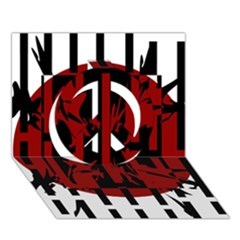 Red, black and white decorative design Peace Sign 3D Greeting Card (7x5)