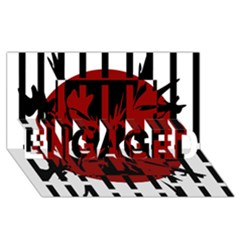 Red, Black And White Decorative Design Engaged 3d Greeting Card (8x4)