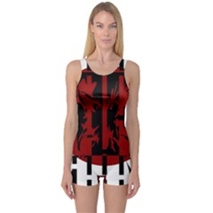 Red, black and white decorative design One Piece Boyleg Swimsuit