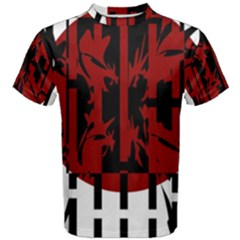 Red, black and white decorative design Men s Cotton Tee