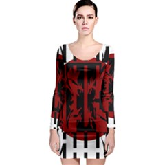 Red, black and white decorative design Long Sleeve Bodycon Dress