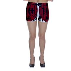 Red, black and white decorative design Skinny Shorts