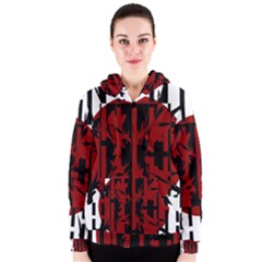 Red, black and white decorative design Women s Zipper Hoodie