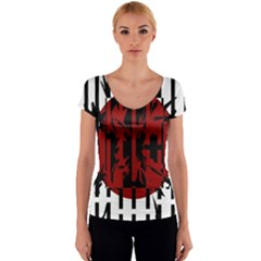 Red, black and white decorative design Women s V-Neck Cap Sleeve Top