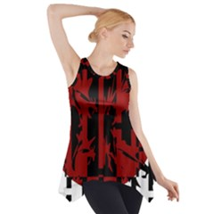 Red, Black And White Decorative Design Side Drop Tank Tunic