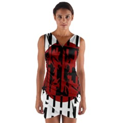 Red, Black And White Decorative Design Wrap Front Bodycon Dress