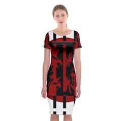 Red, Black And White Decorative Design Classic Short Sleeve Midi Dress