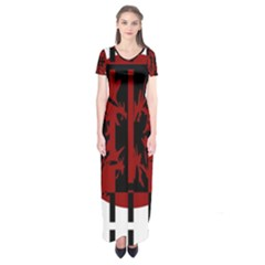 Red, Black And White Decorative Design Short Sleeve Maxi Dress