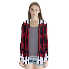 Red, Black And White Decorative Design Drape Collar Cardigan
