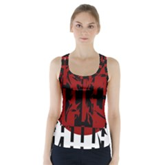 Red, black and white decorative design Racer Back Sports Top