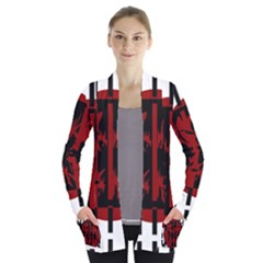 Red, black and white decorative design Women s Open Front Pockets Cardigan(P194)