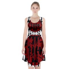 Red, black and white decorative design Racerback Midi Dress