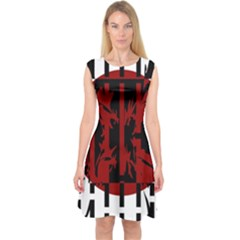 Red, black and white decorative design Capsleeve Midi Dress