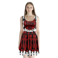 Red, black and white decorative design Split Back Mini Dress