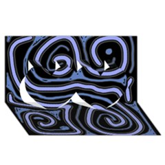 Blue abstract design Twin Hearts 3D Greeting Card (8x4)