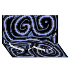 Blue abstract design Twin Heart Bottom 3D Greeting Card (8x4)