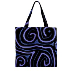 Blue abstract design Zipper Grocery Tote Bag