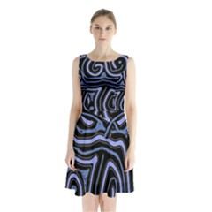 Blue abstract design Sleeveless Waist Tie Dress