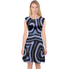 Blue abstract design Capsleeve Midi Dress