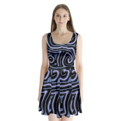 Blue abstract design Split Back Mini Dress