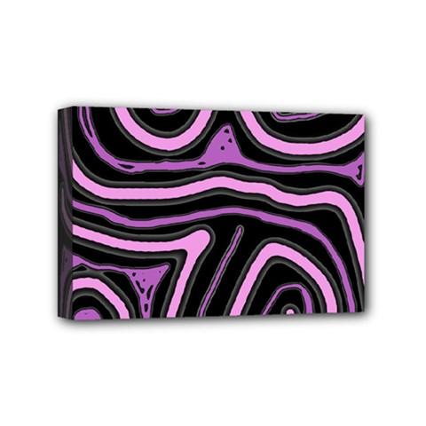 Purple neon lines Mini Canvas 6  x 4
