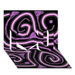 Purple neon lines I Love You 3D Greeting Card (7x5)