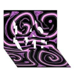 Purple neon lines LOVE 3D Greeting Card (7x5)