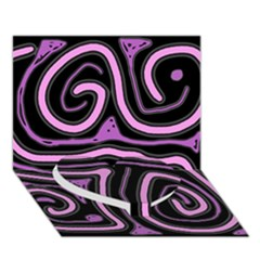 Purple neon lines Heart Bottom 3D Greeting Card (7x5)