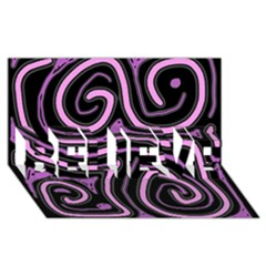Purple neon lines BELIEVE 3D Greeting Card (8x4)