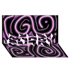 Purple neon lines SORRY 3D Greeting Card (8x4)