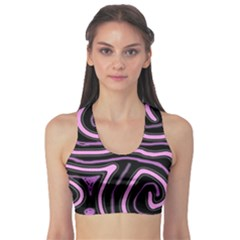 Purple neon lines Sports Bra